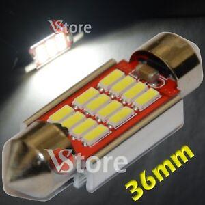 2-LED-Siluro-36mm-12-SMD-4014-Canbus-No-Errore-Lampade-Luci-BIANCO-Interno-Targa