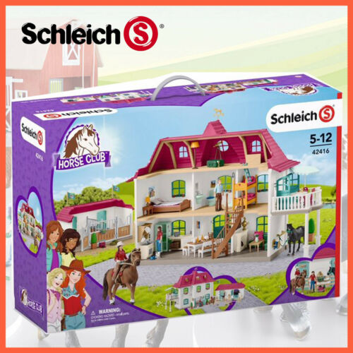 NEW SCHLEICH HORSE CLUB LARGE HORSE STABLE HOUSE with HORSES & ACCESSORIES 42416