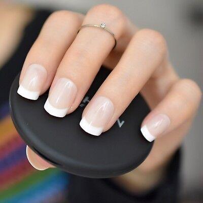 Press On Nails Pointed Manicure Tips Short French False Nail Shiny Designed Art Ebay