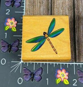 Comotion Dragonfly Rubber Stamp 1996 Swamp Bug Wood #B31