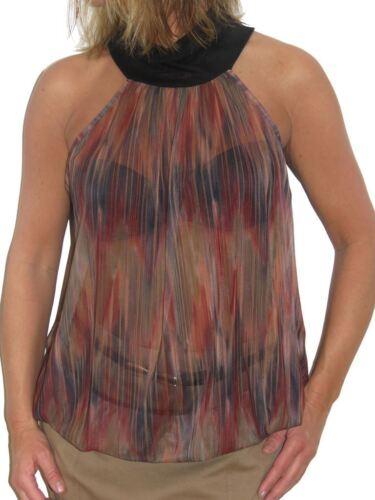 Chiffon Sleevless Open Back Halter Neck Top Multi Colour Summer Evening 6-12