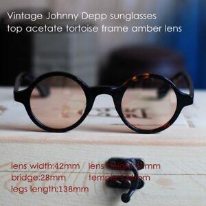 aeb150a5e2c Details about Vintage round John Lennon sunglasses mens Hippie Retro tortoise  glass amber lens