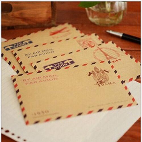 10X antike Kraft Luftpost Umschlag Postkarten Brief stationärRSDENIDE