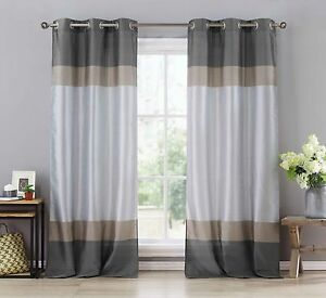 Two Silver Gray Taupe Window Curtain Panels Faux Silk