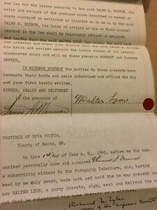 1945-Deed-Walter-Lyon-To-Ralph-Mounce-Farm-Land-Deed-Vintage-Canada-Paper-E79