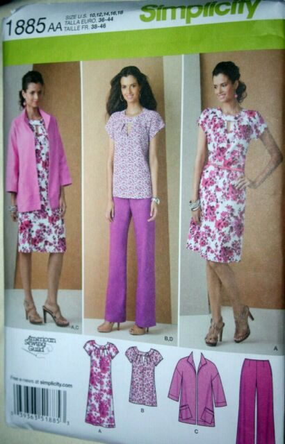 Jacket /& Pants Simplicity Pattern 1885 Misses//Womens Pullover Dress~Tunic