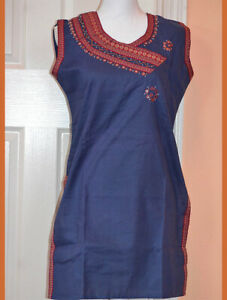 Dark-Blue-Color-Long-Cotton-Tunic-Top-Kurti-with-Red-neck-border-from-India