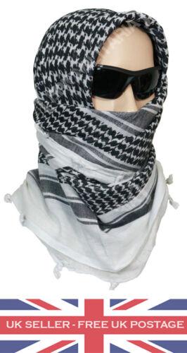 NEW SHEMAGH Black /& White Scarf Arab Army Military Surplus Vintage Wrap Head