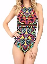 Trina Turk Africana High Neck One-Piece Swimsuit Multi Size 8