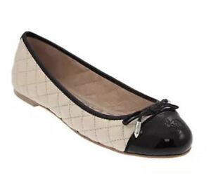 Sam Edelman Women's Becka Quilted Leather Flats Modern Ivory Black 2988 Sz 9 M