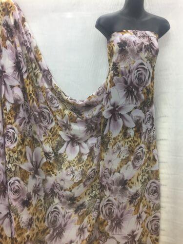 Designer Multicolore Floral//Imprimé Animal Mousseline Tissu Mariage Lumière