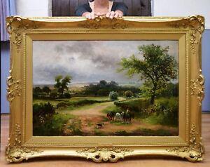 Fine-Large-Original-Antique-19thC-Oil-Painting-of-English-Victorian-Landscape