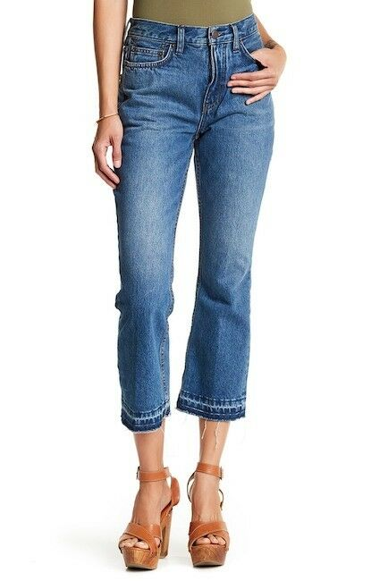FREE PEOPLE HIGH RISE RELEASE HEM CROP BOOTCUT JEANS BOHO HIPPIE SIZE 27 NWT