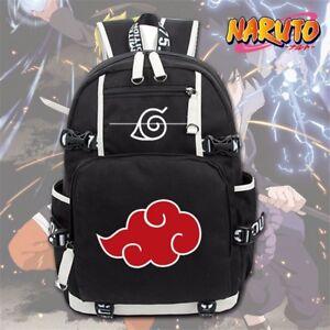 Anime Naruto Akatsuki Red Cloud Backpack School Shoulder Bag