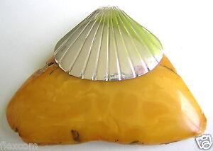 Anhänger Xl Butterscotch Natur Bernstein Echt Silber Muschel Montour Anhänger 32,2 G #259