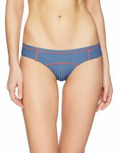 RVCA Womens Swimwear Blue Size Medium M July Ribbed Cheeky Bikini Bottom $49 938