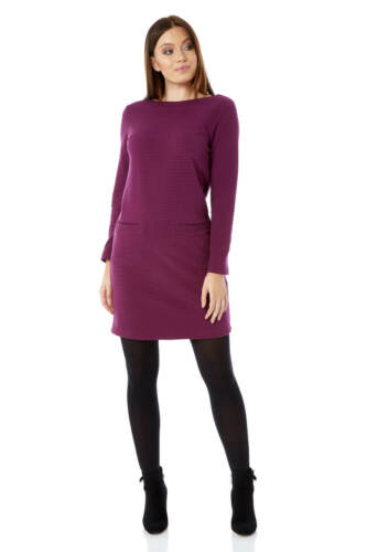 Roman Originals Women Ribbed Shift Dress Ladies 58/% Cotton