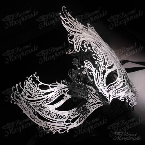 Silver Womens Beautiful Phoenix Laser-Cut Metal Venetian Masquerade Mask