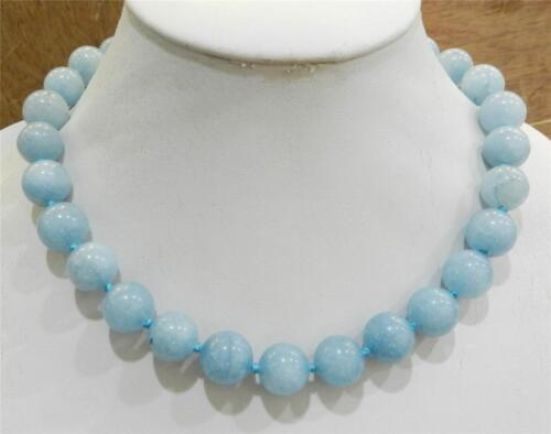 "Élégant charmant 14 mm Brazilian Aquamarine Gems Round Beads Necklace 18/"" AA"