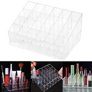 24-Trapezoid-Clear-Display-Lipstick-Stand-Case-Organizer-Makeup-Cosmetic-Holders
