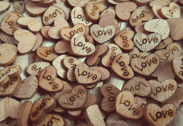 SAMPLE  Rustic Wooden Love Heart Wedding Table Scatter Decoration Crafts