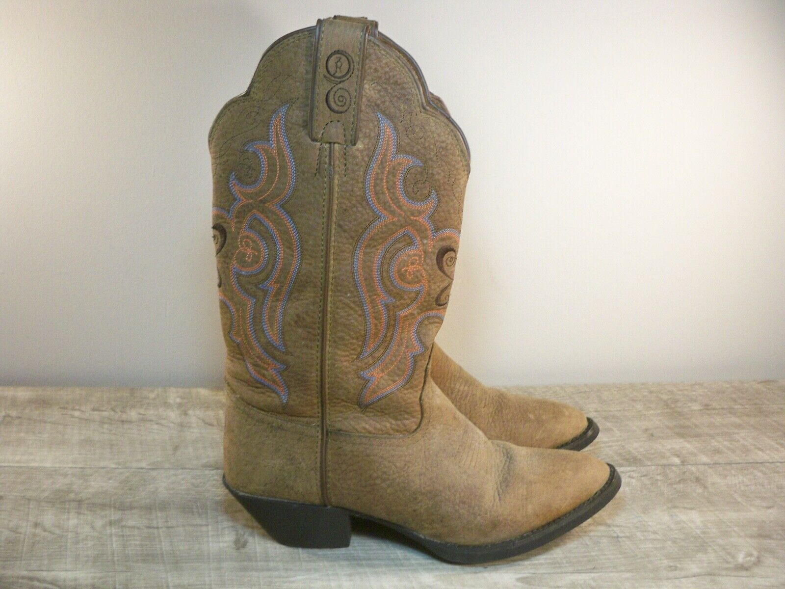Tony Lama 3R #RR5003L Sorrel Bridle Brown Leather R Toe Cowgirl Boots Women's 7