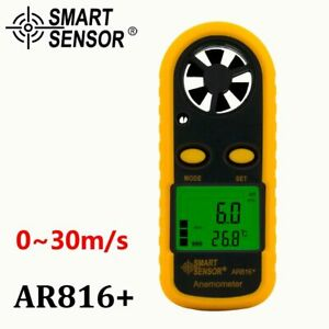 Details about Wind Speed Gauge Air Flow Anemometer Meter Sensor AR816+  Measuring Instruments