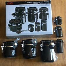 Oggi 7 (6) Piece Round Ceramic Canister Set with Spoons Missing Large Canister