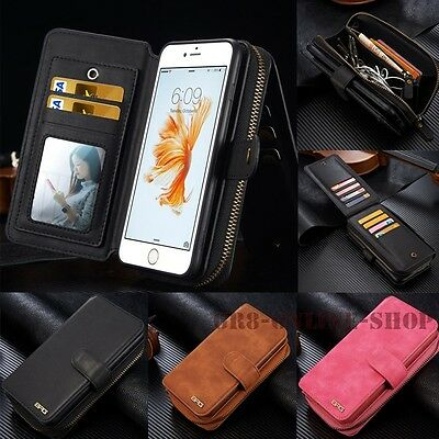 Removable Zipper Wallet Card Handbag PU Leather Purse Case Magnetic Cover Pouch