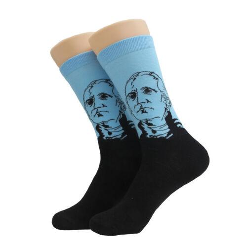 NEW 5 Pairs Mens Cotton Socks Lot Great leader President Oil painting Crew Socks