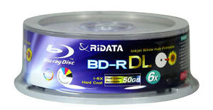 5 Ritek Ridata 6X Blu-Ray BD-R 50GB White Inkjet Hub Printable Disc Media