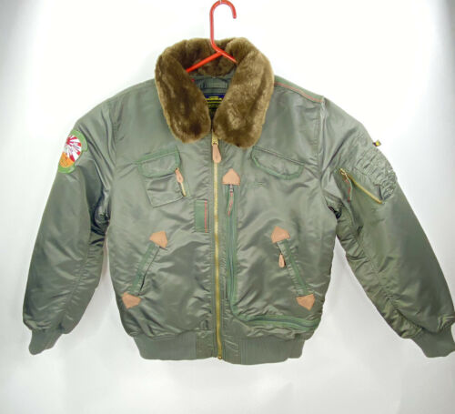 RARE Alpha Industries Men's Vintage Bomber Faux Fu