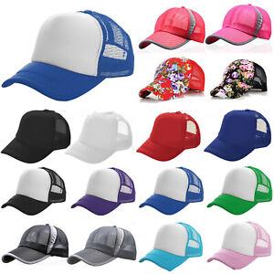 cdb83854465 Image is loading Trucker-Hat-Half-Mesh-Baseball-Snapback-Adjustable-Sports-