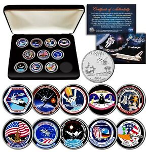 SPACE-SHUTTLE-CHALLENGER-MISSION-NASA-Florida-State-Quarters-10-Coin-Set-w-BOX