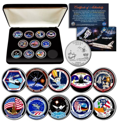 SPACE SHUTTLE CHALLENGER MISSION NASA Florida State Quarters 10-Coin Set w// BOX