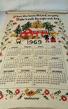 Vintage 1969 Linen Calendar Tea Towel Bless This House...  829