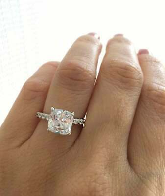2.50Ct Cushion Cut Diamond Solitaire Engagement Ring 14k Yellow Gold Over