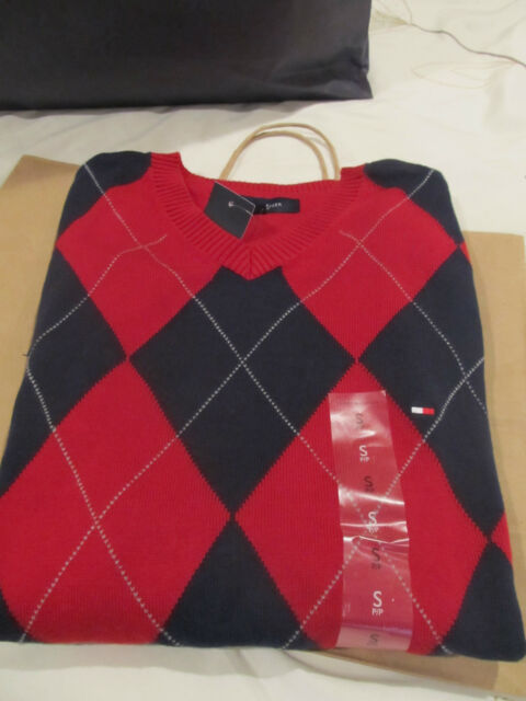 Tommy Hilfiger Men's V-Neck Sweaters Argyle & Solids.  One Vest Option in Argyle