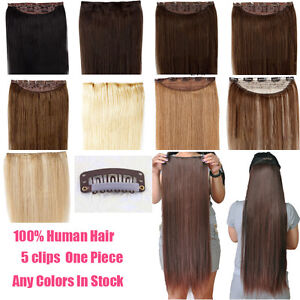 Human-Hair-Extensions-amp-Hair-pieces-Highlight-16-034-18-034-22-034-One-Piece-Clip-In-Remy