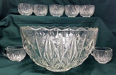 Vintage Cut Gl Punch Bowl With