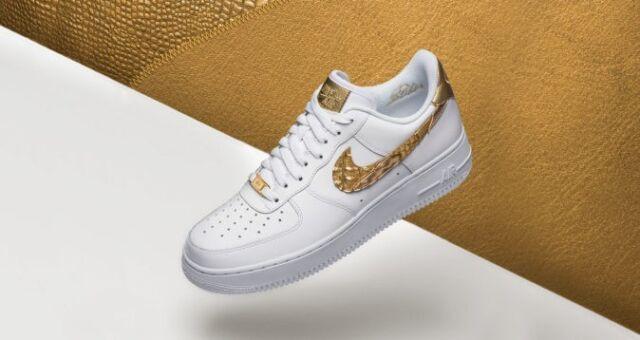 Nike Air Force 1 AF1 CR7 GOLD PATCHWORK WHITE CRISTIANO RONALDO AQ0666 100 sz 15