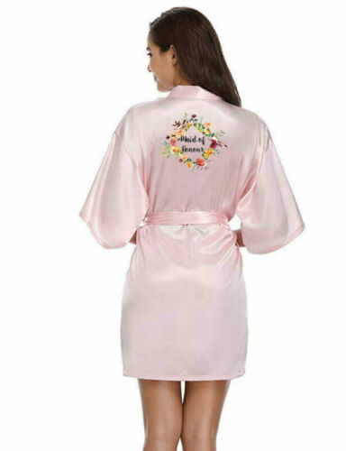 Personalised Floral Satin Wedding Bride Robe Gown Bridesmaid Maid of Honour Gift