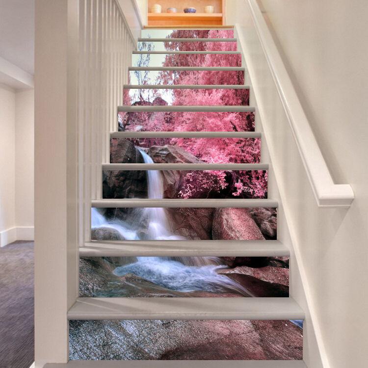 3D Stream Trees 197 Stair Risers Decoration Photo Mural Vinyl Decal Wallpaper AU