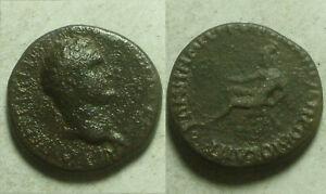 Domitian 81 AD Rare genuine Ancient Roman Coin Nicaea Bithyna Roma rocks wreath