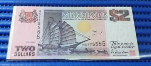 775555 Singapore Ship Series $2 Note HG775555 Nice Double Digits Number Banknote