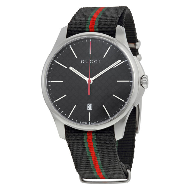 Gucci G-Timeless Black Dial Fabric Strap Ladies Watch YA126321