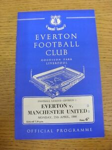 25-04-1966-Everton-v-Manchester-United-Score-Noted-On-Cover-amp-Team-Changes-F