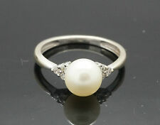 9ct White Gold Natural Pearl Solitaire w/Diamond(0.10ct) Accents Ring (Size L)