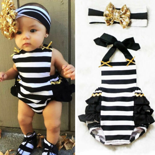 Toddler Baby Girls  Stripe Ruffle Bodysuit Romper Jumpsuit Sunsuit Clothes 0-24M