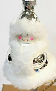 Pier-1-White-Silver-Snowman-Glass-Christmas-Ornament-New